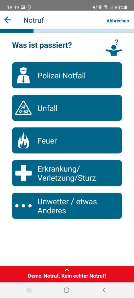 Schritt 2: Um welche Art Notfall handelt es sich?